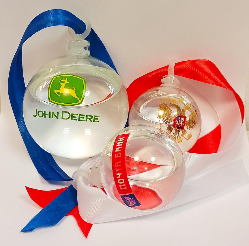 Стеклянные ёлочные шары для напитков с логотипом